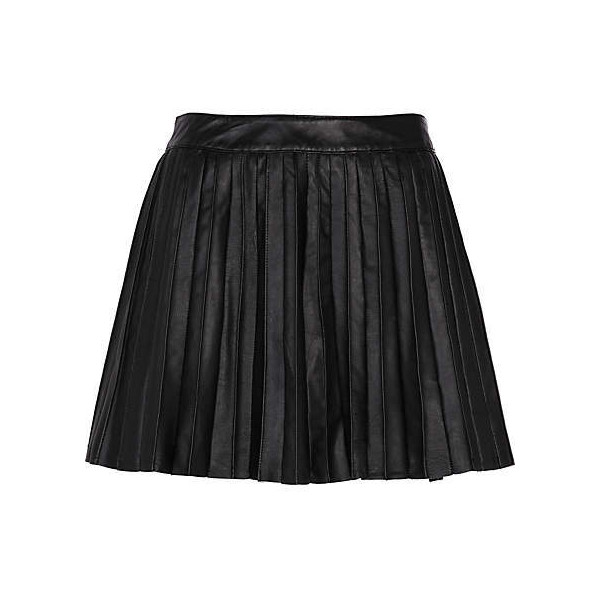 black leather pleated mini skirt - mini skirts - skirts - wo... - Polyvore