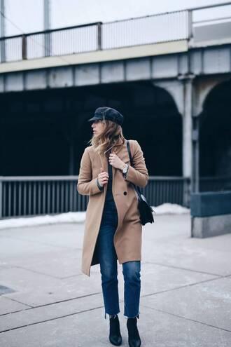 coat tumblr camel camel coat hat black hat fisherman cap denim jeans blue jeans boots black boots pointed boots bag black bag