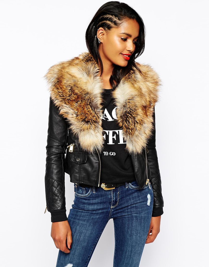 River Island Biker Jacket With Faux Fur at asos.com