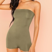 romper,tube,girly,girl,girly wishlist,olive green,one piece,strapless,comfy