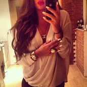 blouse,creme,nude,brown,jewels,fall outfits,chiffon,chiffon blouse,cache coeur,white,shirt,flowy