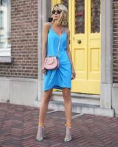 dress,midi dress,strappy sandals,crossbody bag,blue dress,sunglasses