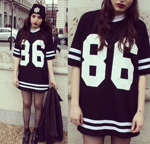 Womens Celeb Oversized 86 American Baseball Tee T Shirt Top Varsity Loose Dress | eBay
