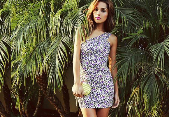 dress sexy bandage dress leopard purple one sleeve mini dress party dress bdelishus hott bag