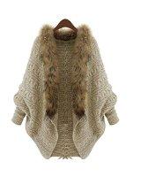 Relibeauty women's fur collar batwing sleeve wave pattern cardigan (one size, khaki) at amazon women's clothing store: