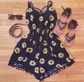 jumpsuit flowers outfit idea outfit summer outfits sunglasses sandals shoes