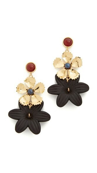 daisy earrings black jewels