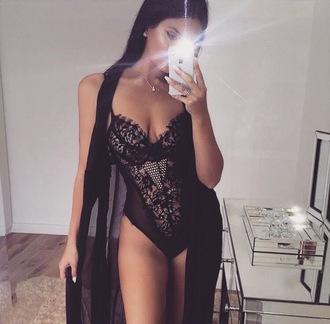 underwear lingerie bodysuit black lace mesh lingerie set