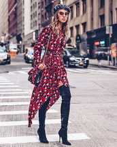 dress,tumblr,midi dress,floral,floral dress,asymmetrical,asymmetrical dress,boots,black boots,over the knee boots,over the knee,beret,sunglasses,long sleeves,long sleeve dress,hat