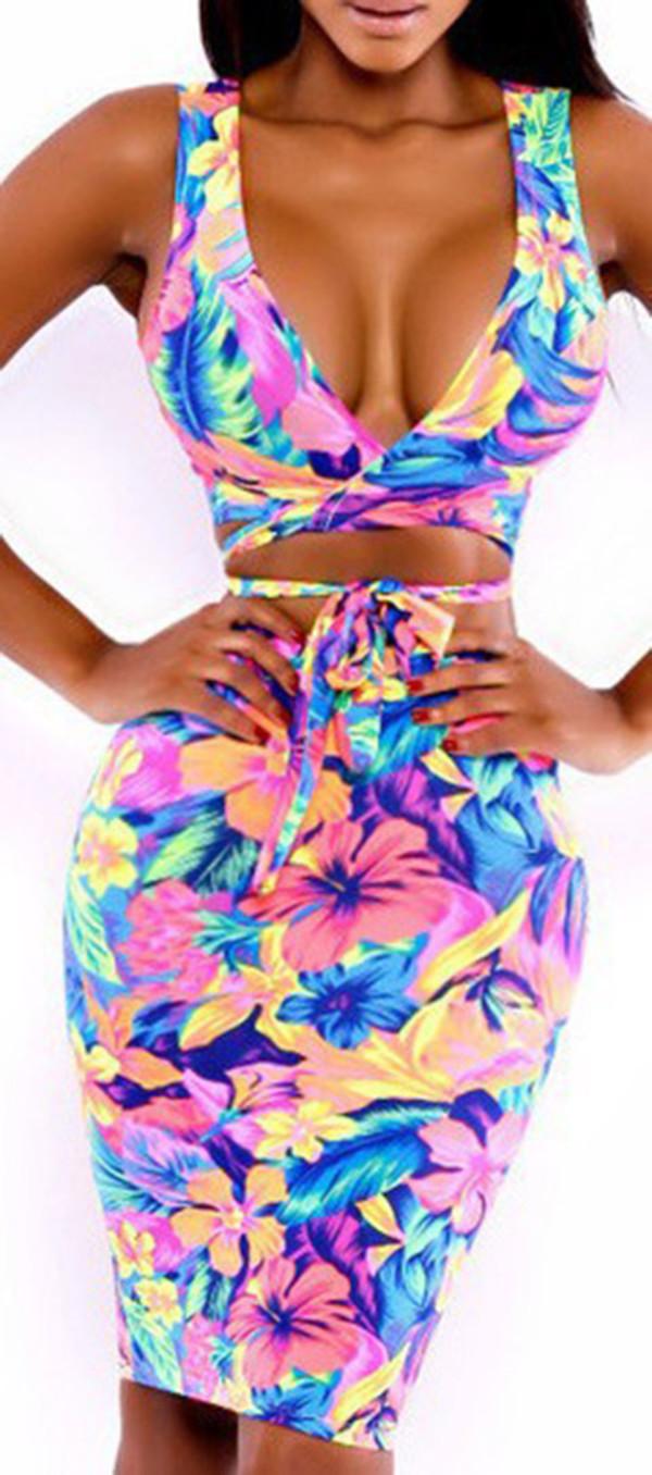 dress floral two-piece