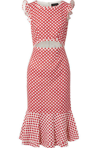 Saloni dress midi dress midi red