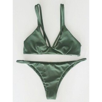 swimwear green bikini summer beach trendy hot trendsgal.com