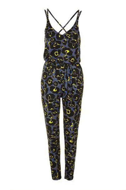 Topshop jumpsuit print grey leopard print