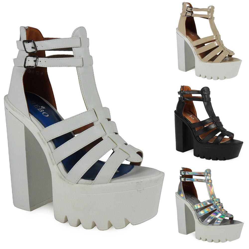 NEW WOMENS LADIES ANKLE PLATFORM GEEK BUCKLE HIGH BLOCK CLEATED HEEL SHOES SIZE