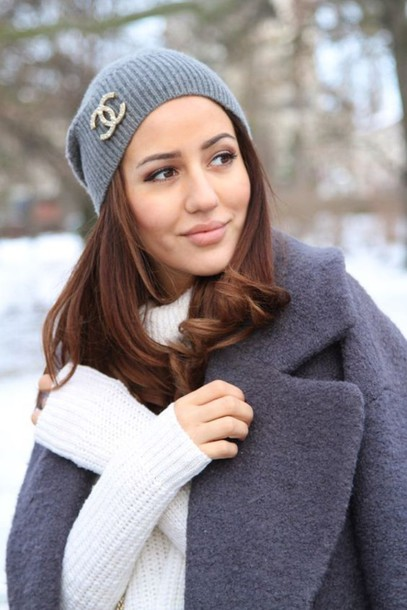 brooch like coat l look winter jewels blogger sweater beanie chanel grey outfits white follow