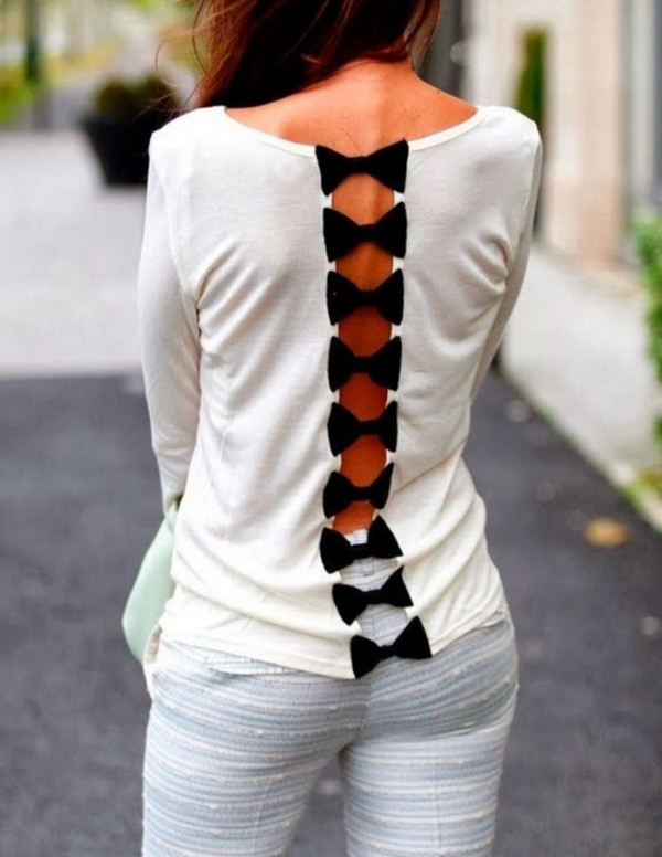 blouse ribbon bowtie open back tshirt long sleeves