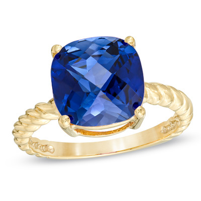 10.0mm Cushion-Cut Lab-Created Sapphire Ring in 10K Gold - View All Rings - Zales