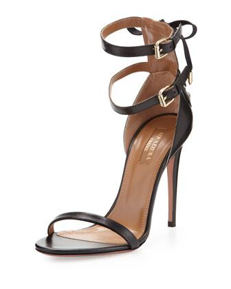 Aquazzura Saharienne Double-Strap Sandal, Black - Neiman Marcus