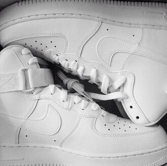 shoes white nike sneakers air force ones hightops cocaine lovely pepa