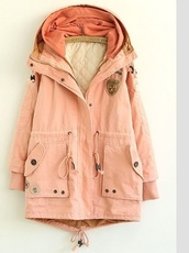 coat,parka,summer,jacket,sailing,clothes,pink,army green jacket,utility jacket,pink coat,powder pink,pink plain cotton blend padded coat,layers,oversized,peach,dusty pink,winter coat,girly,tumblr