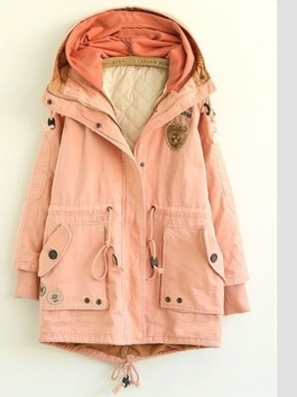 coat parka summer jacket sailing clothes pink army green jacket utility jacket pink coat powder pink pink plain cotton blend padded coat layers oversized peach dusty pink winter coat girly tumblr