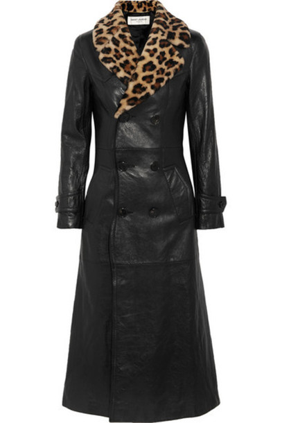 Saint Laurent coat leather print black