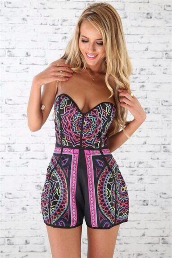 jumpsuit purple pink aztec