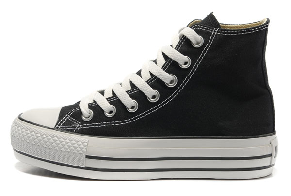 Classic Black Platform Converse All Star High Tops Canvas Women Shoes