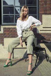 pants,green sandals,tumblr,cropped pants,capri pants,khaki,khaki pants,shirt,white shirt,sandals,sandal heels,high heel sandals,spring outfits