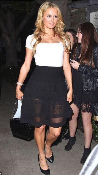 top skirt paris hilton black and white