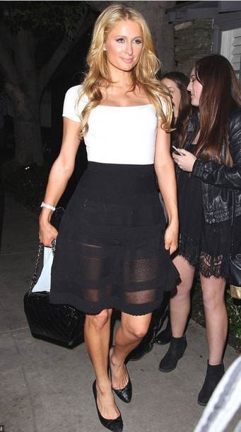 top skirt paris hilton black and white