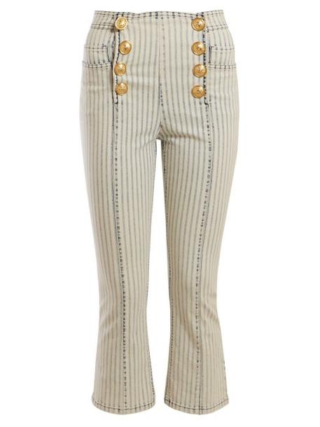 Balmain - Striped Kickflare Jeans - Womens - Blue White