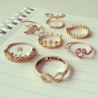 jewels ring gold diamonds crown infinity ring gold ring thin rings vintage gorgeous heart jewelry crown ring double ring double rings cute jewelry gold jewelry golden jewels heart wings wing ring bff infinity best friends infinity ring knuckle ring ring set tiara ring bestfriends rings bestfriends jewelry besties rings bff rings rhinestones
