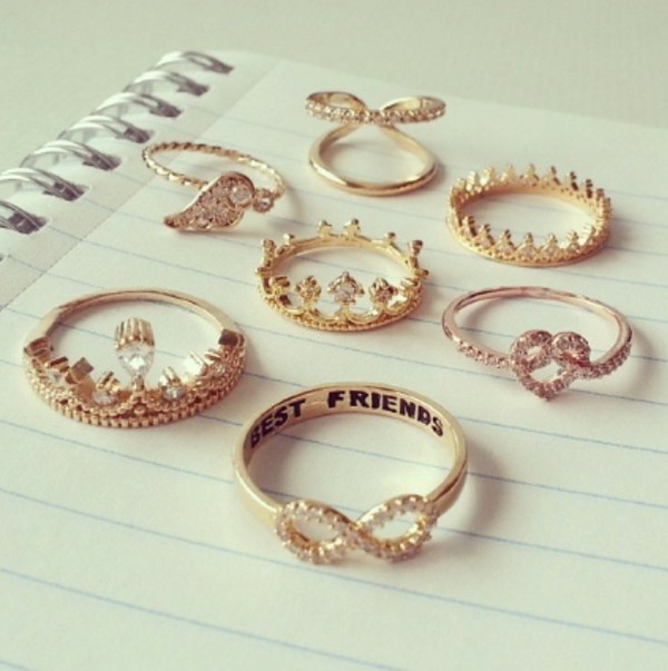 jewels ring gold diamonds crown infinity ring gold ring thin rings gold ring ring vintage gorgeous heart jewelry crown ring double ring double rings cute jewelry gold jewelry golden jewels heart wings wing ring bff infinity best friends infinity ring knuckle ring ring set tiara ring bestfriends rings bff bestfriends jewelry besties rings bff rings gold ring bff rhinestones