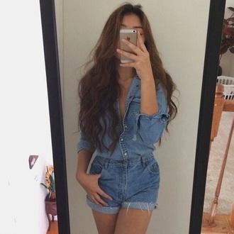 romper denim shirt shorts denim shirt