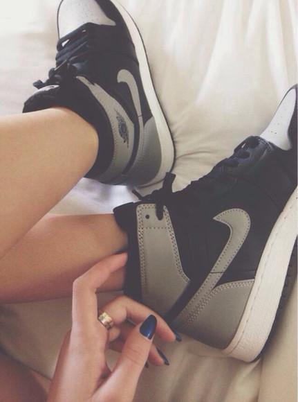 grey shoes skateboard shoes shoes nikes high top sneaker black grey sneakers nike nike shoes for women gray nike black grey high top nikes nike air jordan alpha 1