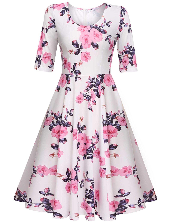 4b8707a00 Amazon.com: Meaneor Women's Half Sleeve Swing Dress Floral Print ...