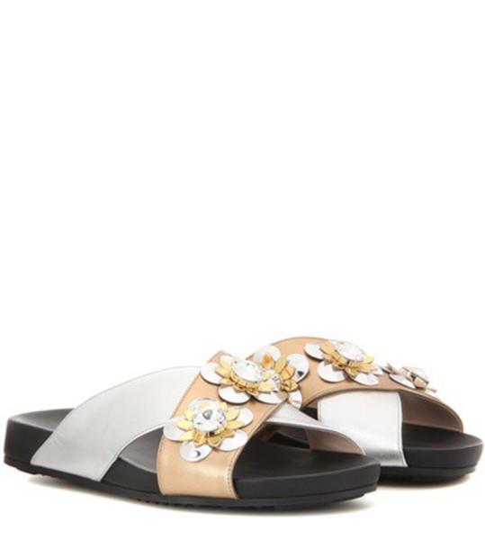 Fendi metallic embellished sandals leather shoes