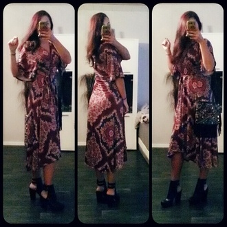 dress boho dress wrap dress print