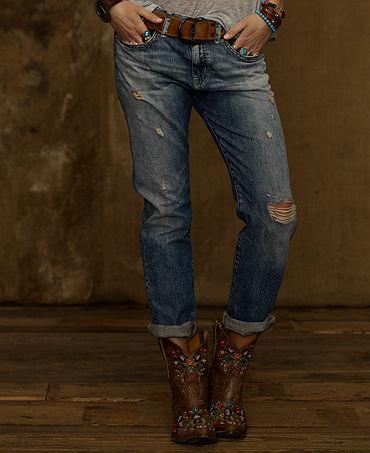 Denim & Supply Ralph Lauren Distressed Boyfriend Jeans, Oceanside Wash - Jeans - Women - Macy's