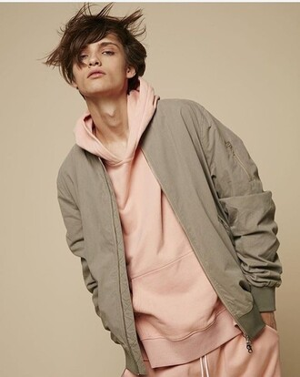 coat bomber jacket beige nude menswear unisex oversized hoodie oversized jacket oversized sweater pink pastel cool instagram tumblr rad minimalist minimalt style outfit outfit idea tumblr outfit instragram style ootd