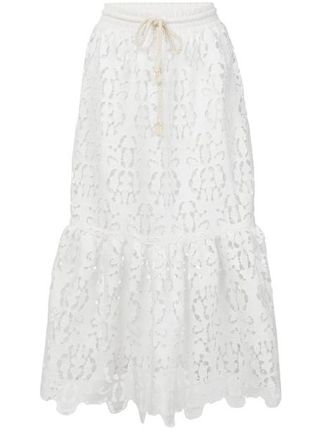 See by Chloe skirt midi skirt open women midi white cotton