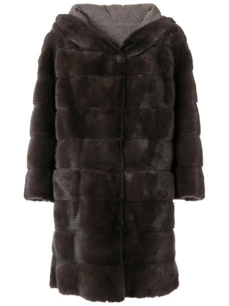 coat fur women classic grey