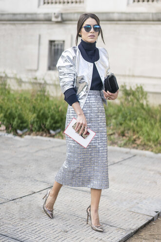 skirt jacket metallic turtleneck midi skirt silver fashion week 2016 paris fashion week 2016 streetstyle sequin skirt sliver skirt pencil skirt black turtleneck top