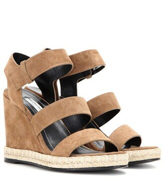 sandals wedge sandals suede brown shoes