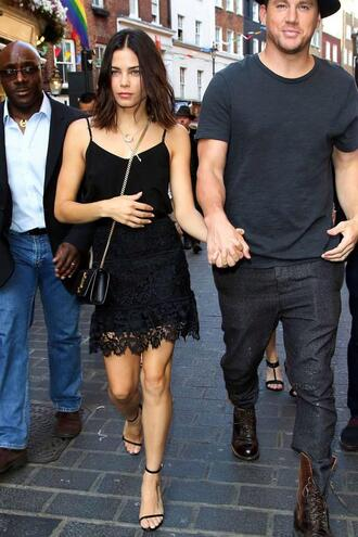 skirt top lace skirt jenna dewan sandals all black everything summer outfits shoes