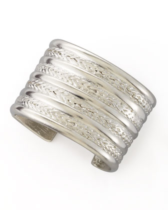 Kenneth Jay Lane Braided Silver-Plate Cuff Bracelet