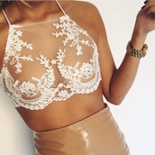 top,white bralette,white lace bralet,lace top,nude,white crop tops,see through,lace,sexy,white lace,white,appliques,tank top,lace white see through,bralette,white top,lace bralette