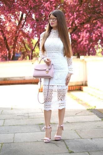 only my fashion style blogger dress shoes jewels bag white dress handbag pink bag midi dress sandals high heel sandals