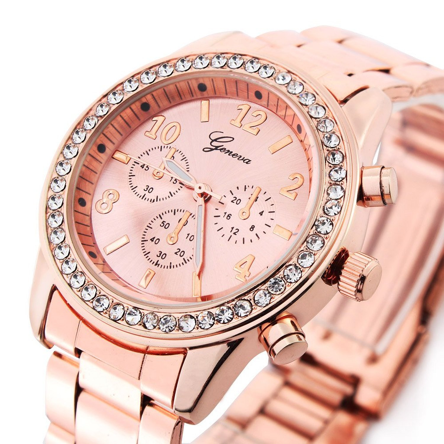 Amazon.com: Bling Jewelry Geneva Rose Gold Plated Classic Round CZ Ladies Watch: Watches
